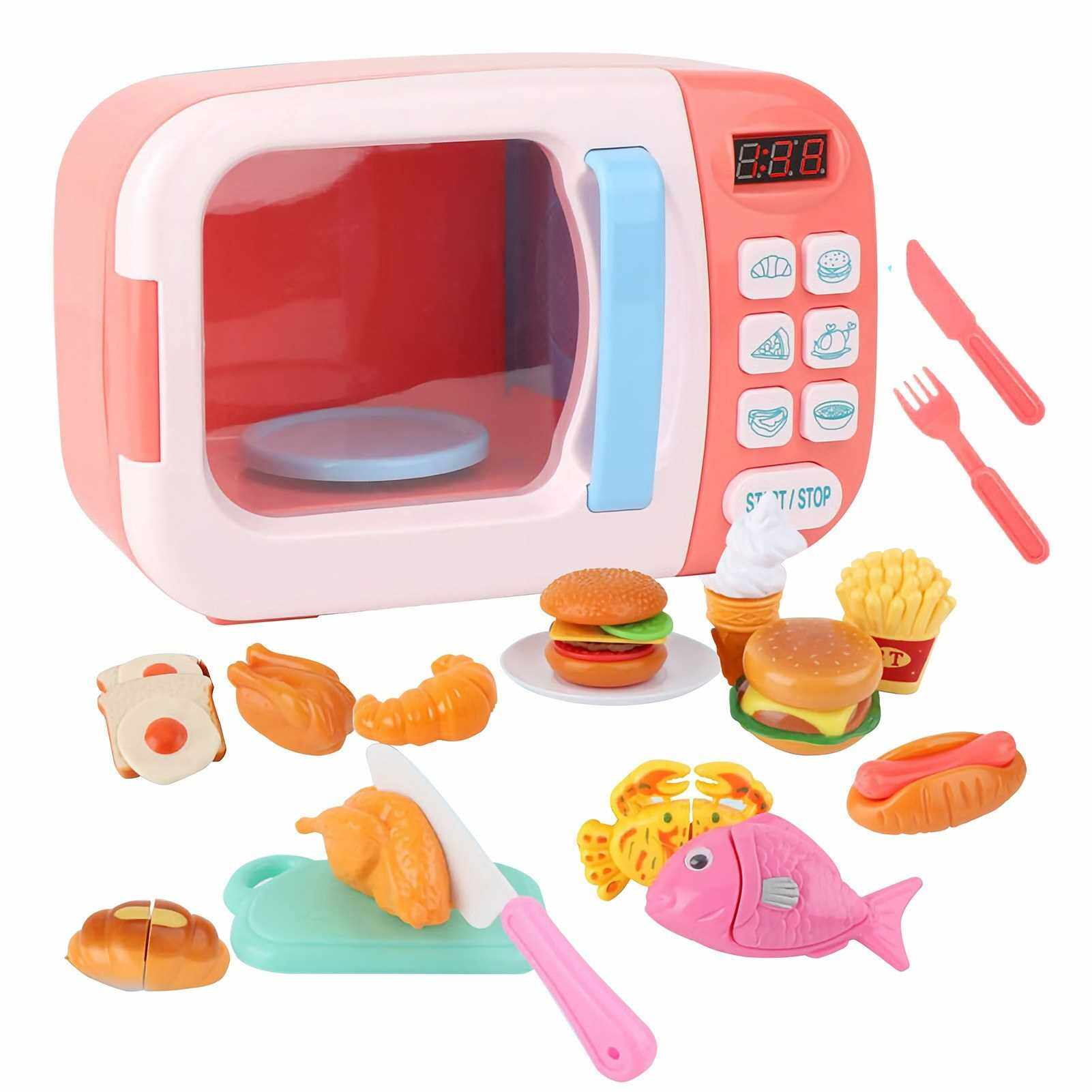Best Selling 31 PCS Kitchen Microwave Play Set Toddler Electronic Cooking Food Accessories Pretending Toy Realistic Light Rotation Clock Timing Christmas Birthday Gift for Kid Girls Boys (Pink)