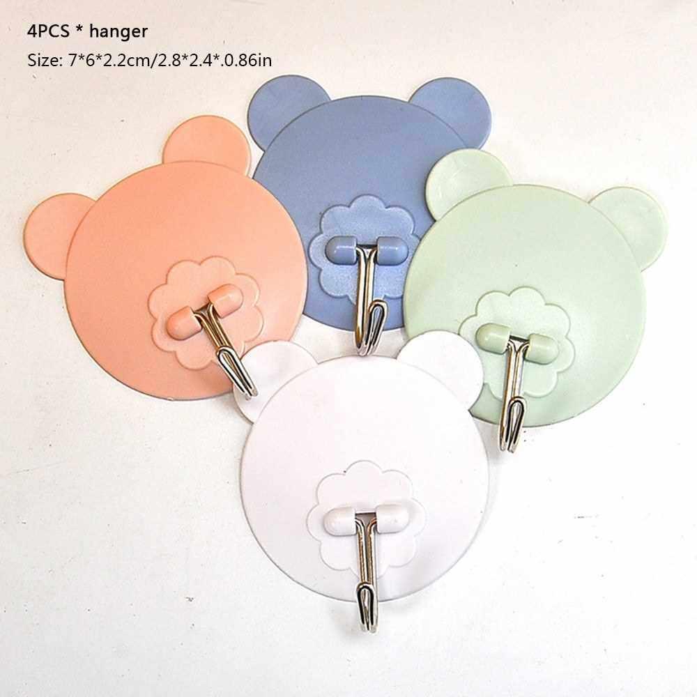 Plastic Seamless Strong Nail Hook Bathroom Kitchen Glue Sticky Magic Door Hook Coat Hook Door Hanger (Pink)