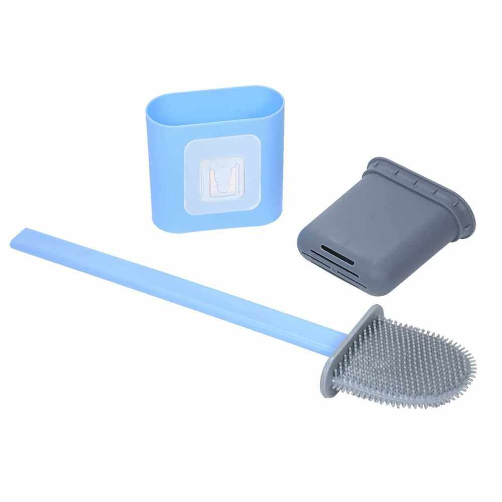 Wall Mount Flat Toilet Brush with Holder Silicone Toilet Bowl Cleaner Brush with Caddy Flexible Non-scratch TPR Bristles for Bathroom Easy Under Rim Cleaning (Blue)