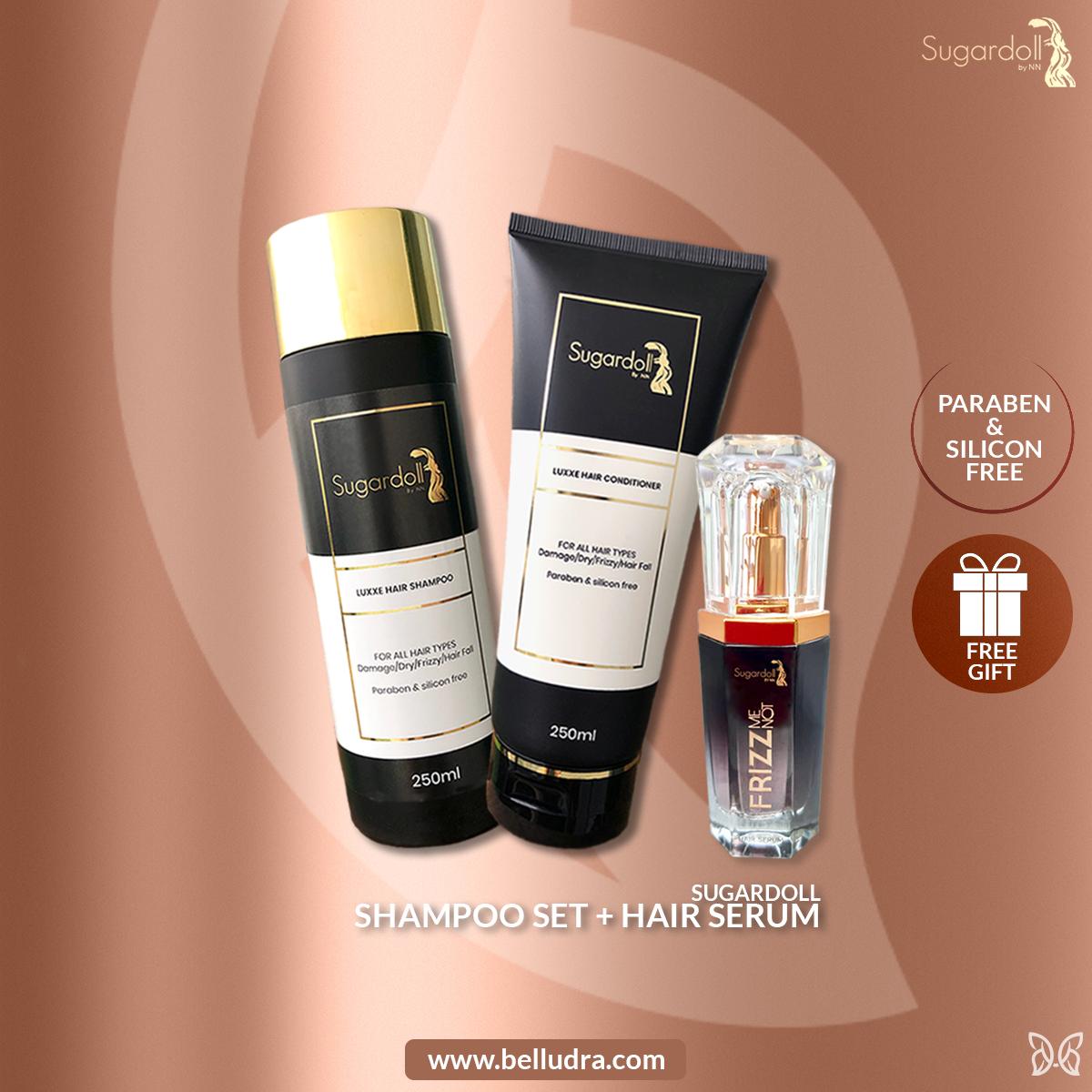 [Hair Treatment] Sugardoll Shampoo Set + Sugardoll Frizz Me Not Hair Serum + Free Gift