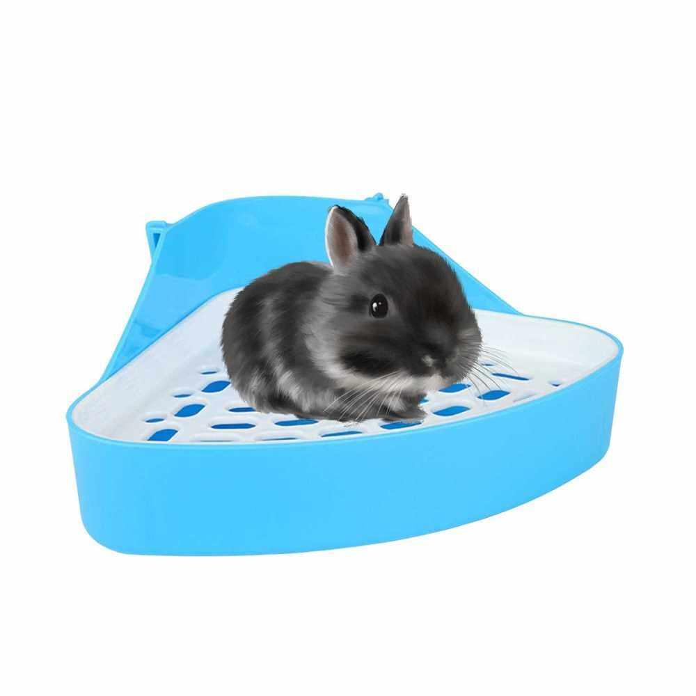 Animal Litter Potty Trainer Toilet Corner Litter Bedding Box Pet Pan for Baby Rabbit Chinchillas Small Guinea Pigs Ferret (Blue)