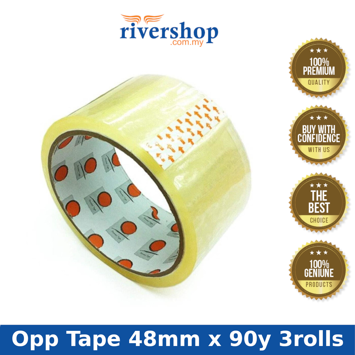3rolls Transparent Clear Opp Tape 48mm x 90yardClear Adhesive Packing Tape