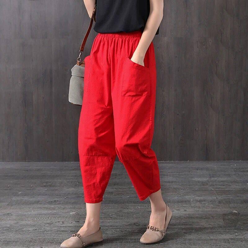 (PRE ORDER) WOMEN RADISH PANTS COTTON LINEN HAREM ELASTIC WAIST PANTS