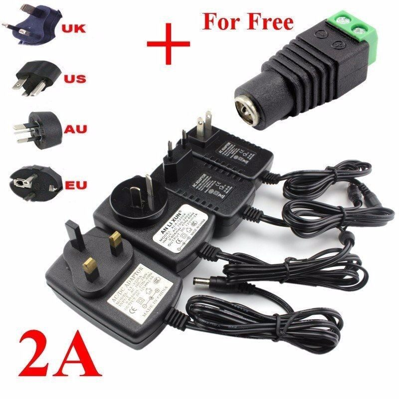 Chargers - DC 12V 2A AC Adapter Power Supply Charger Transformer Strip Light - UK OLUG