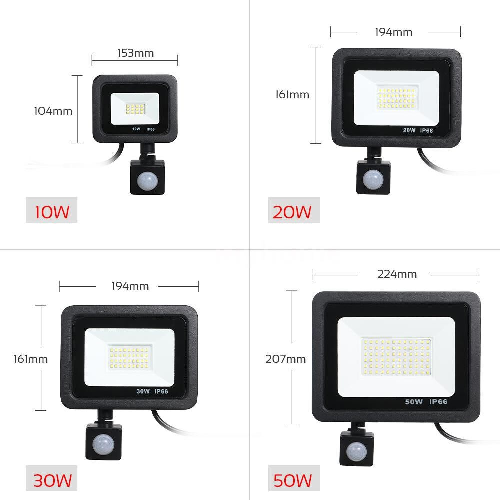 Lighting - AC175-265V 50W 4000LM 72White Light LED Flood Light PORTABLE PIR Motion Sensor Sensitive Human - WHITE-50W / WHITE-30W / WHITE-20W / WHITE-10W