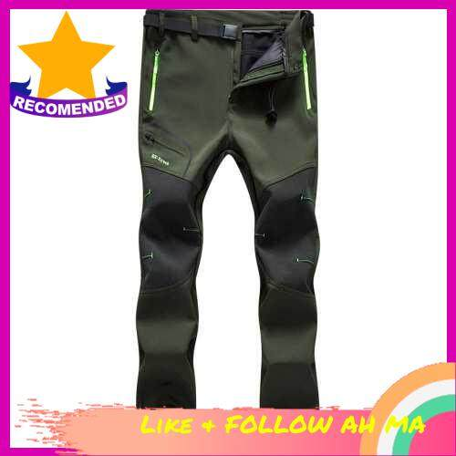 Best Selling Men Hiking Pants Water Resistant Breathable Winter Pants with Pockets Fleece Lined Pants with Belt for Outdoor Camping Mountaineering Skiing Snowboarding (Green)