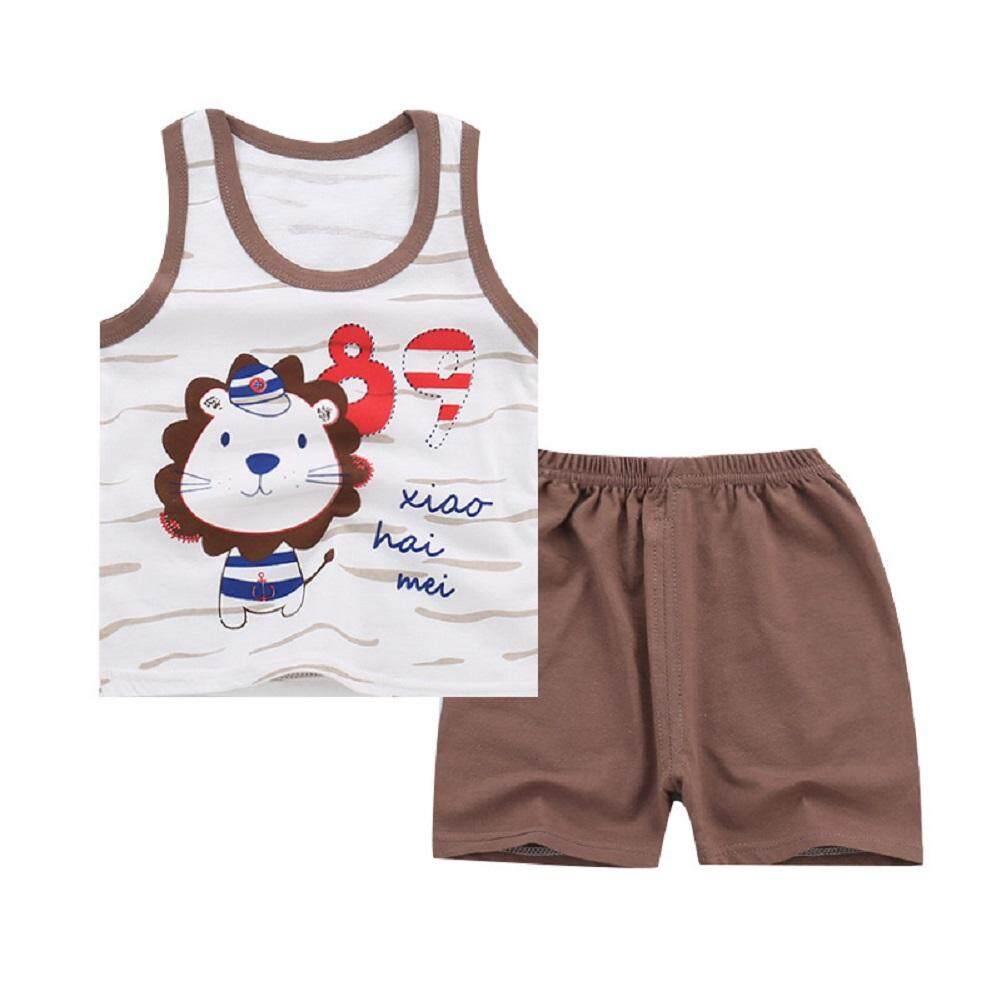 2pcs/set Children Boy Girl Summer Cartoon Lovely Printing Sleeveless Vest Suit