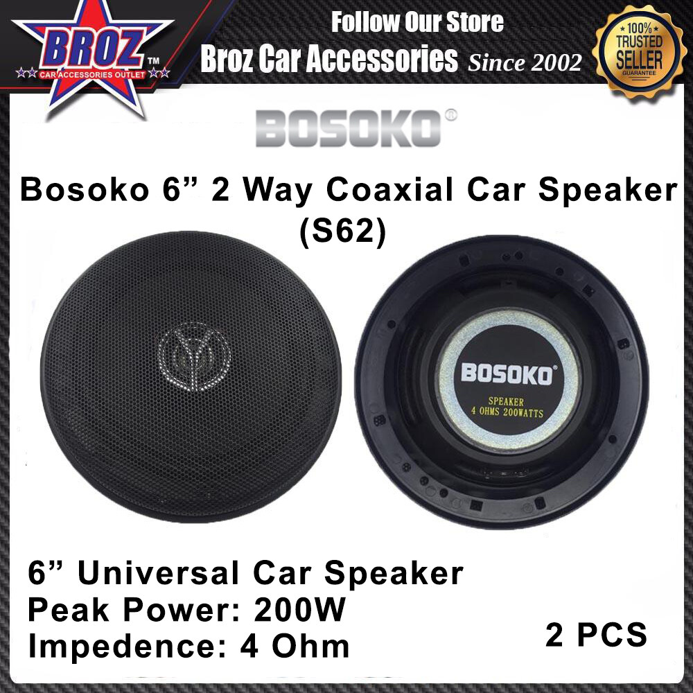 Bosoko S62 6 inch 2 Way Coaxial Universal Car Speaker ( 2 pcs )