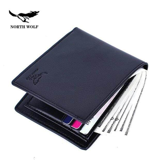 [M'sia Warehouse Direct] 2019 North Wolf Korean Series Men's Wallet Bi Fold Fengshui Wallet Europe Designer Perfect Gift (Come With Box) Clutch Card Coins Cash Slot With Zip Portable Hand Carry Bag Luxury Top Material Genuine Leather Halal Dompet Kulit