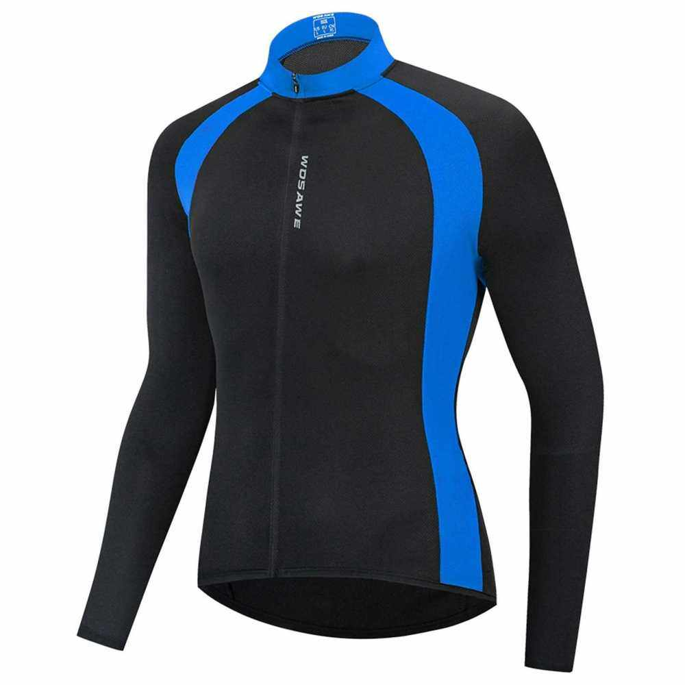 Cycling Jersey Men Women Quick Dry Breathable Long Sleeve Bike Shirt Clothing Bicycle Riding Running Fitness Activewear Top (Blue)