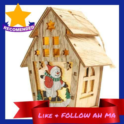Best Selling Christmas Luminous Wooden House with LEDs Light DIY Wood Chalet Christmas Tree Hanging Ornaments Xmas Festival Holiday Decorations Gifts (L)