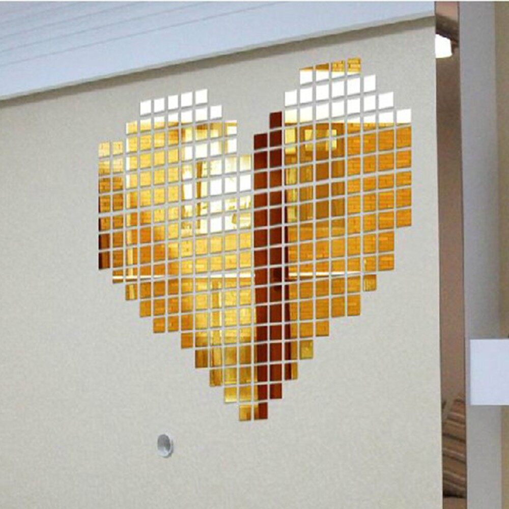 Mirrors & Wall Art - 100 PIECE(s) Adhesive MINI Square 3D Wall Mirror For Room Stick Decal Home Decor - GOLD / SILVER