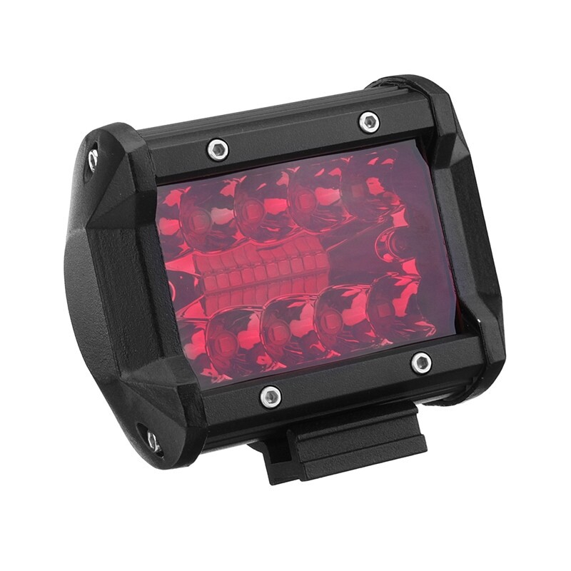 Engine Parts - 2x 4 Fog Lamp Red LED Work Light Flood Spot Beam Driving Offroad Truck Boat - Car Replacement