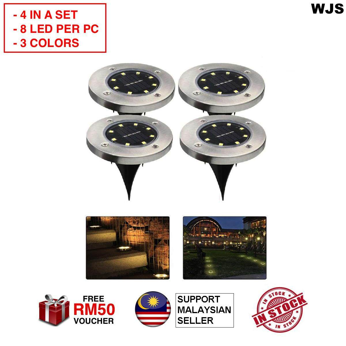 (4 IN A SET + 8 SOLAR LED) WJS Solar Path Lights Solar Powered Ground Lights Waterproof LED Solar Path Lights Solar Outdoor Lighting 8 LED For Driveway Yard Lawn Pathway Swimming Pool Landscape COOL WHITE / WARM WHITE / MULTICOLOR [FREE VOUCHER RM50]