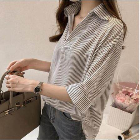 Korean Women Casual Stripe V Collar Half Sleeve Tee Shirt Blouse