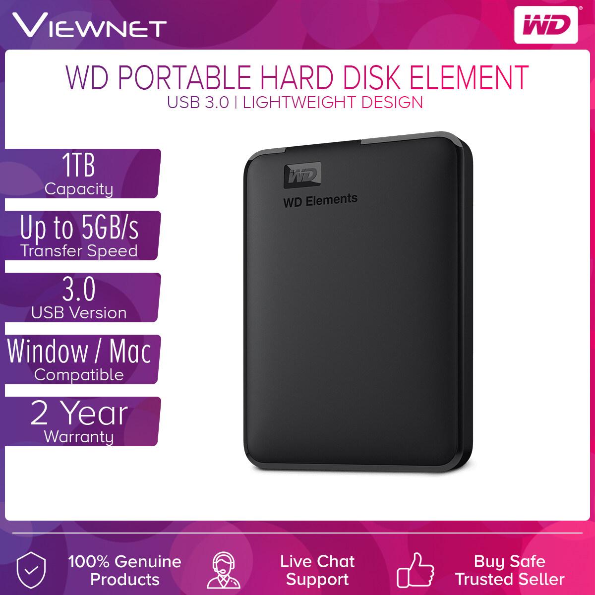 WD Western Digital Element 1TB Slim Portable External Hard Disk USB 3.0