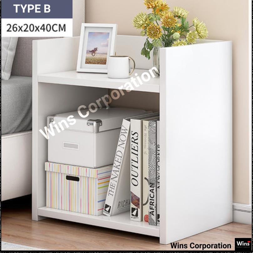 2 Tier Wooden Multipurpose Rack Book Shelf, Rak Buku Bedroom