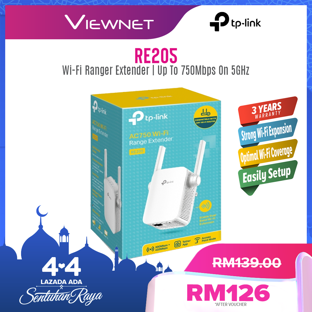 TP-Link AC750 Wi-Fi Range Extender (RE205), 2.4GHz band, Stable Dual-Band, 300Mbps