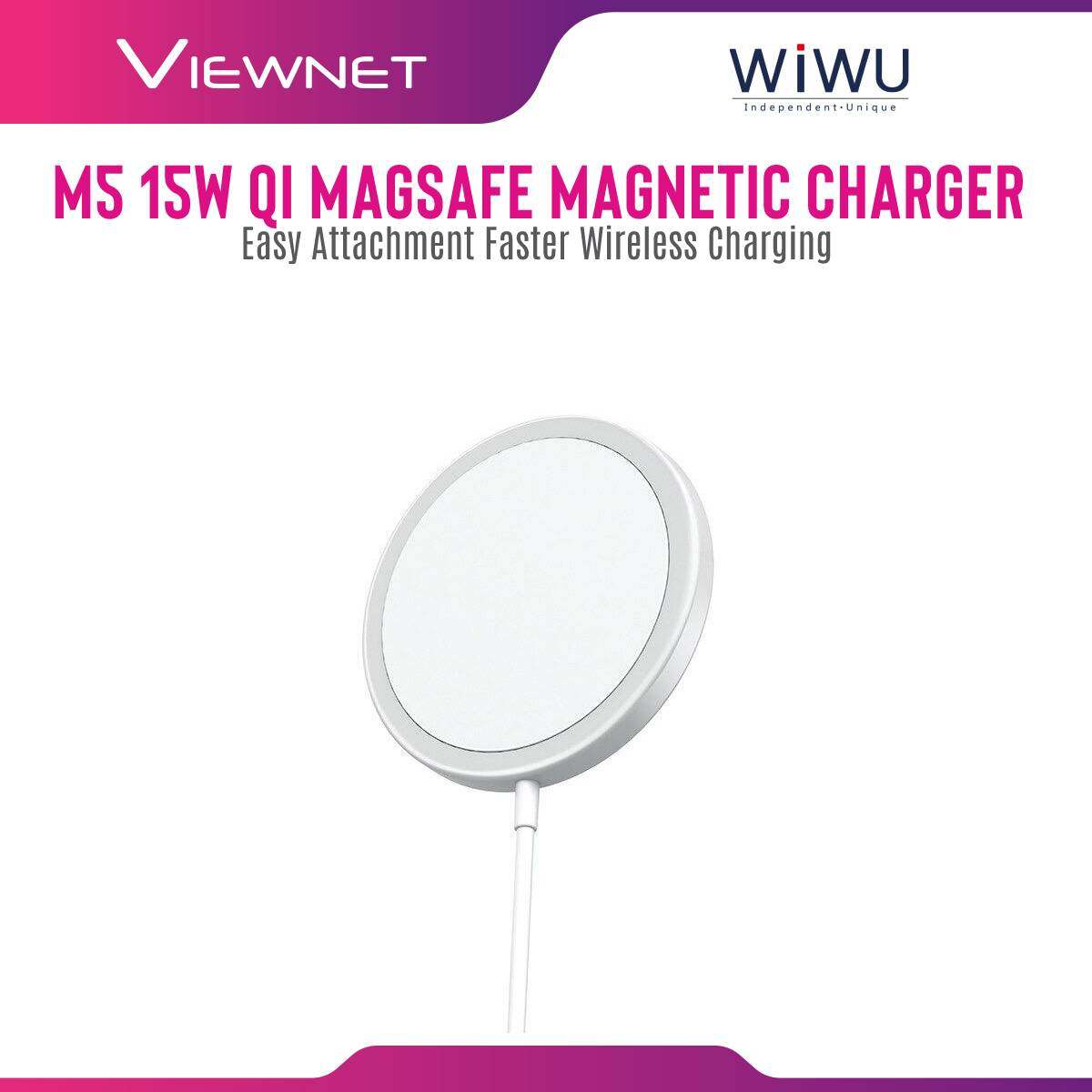 WIWU M5 15W QI Standard Magsafe Magnetic Fast Charging Wireless Charger for iPhone 12