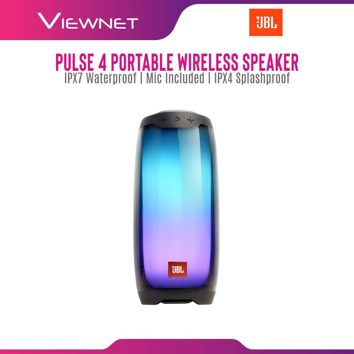 JBL Pulse 4 Waterproof Portable Bluetooth Speaker with Light Show, JBL signature sound, 12 Hours of Playtime