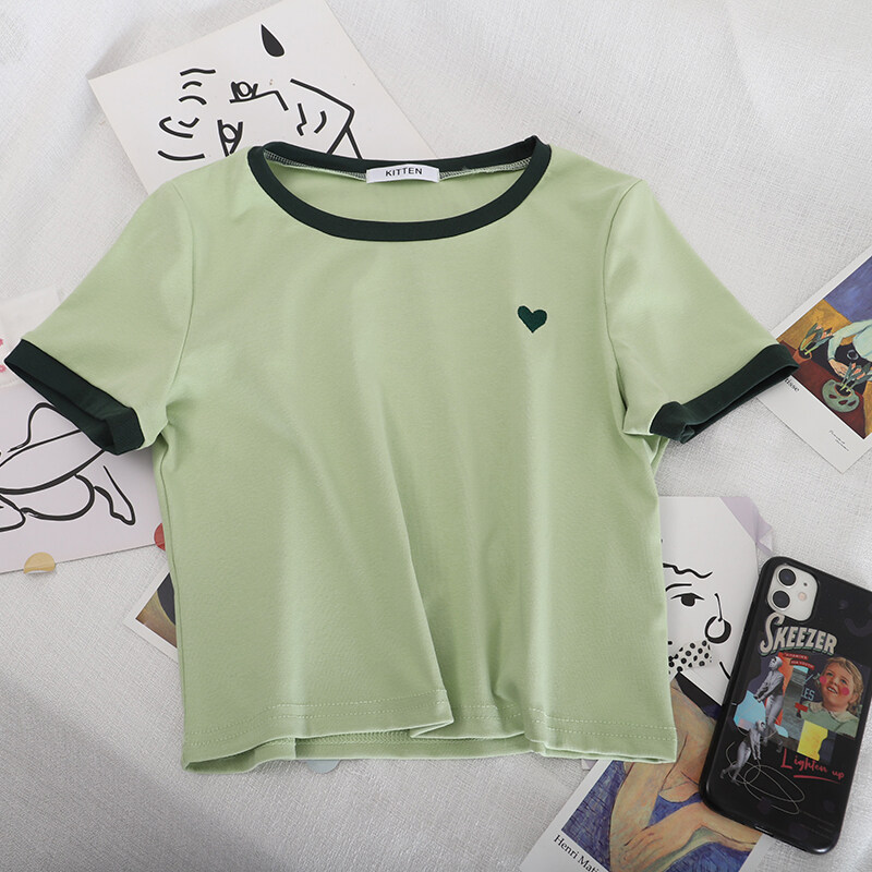 (PRE ORDER) WOMEN SOFT CONTRAST COLOR EMBROIDERED SHORT T-SHIRT