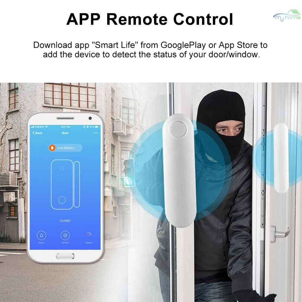 Sensors & Alarms - WiFi Smart Door Sensor Tuya APP Control Door Window Opening Security Alarm Sensor Magnetic Switch - WHITE