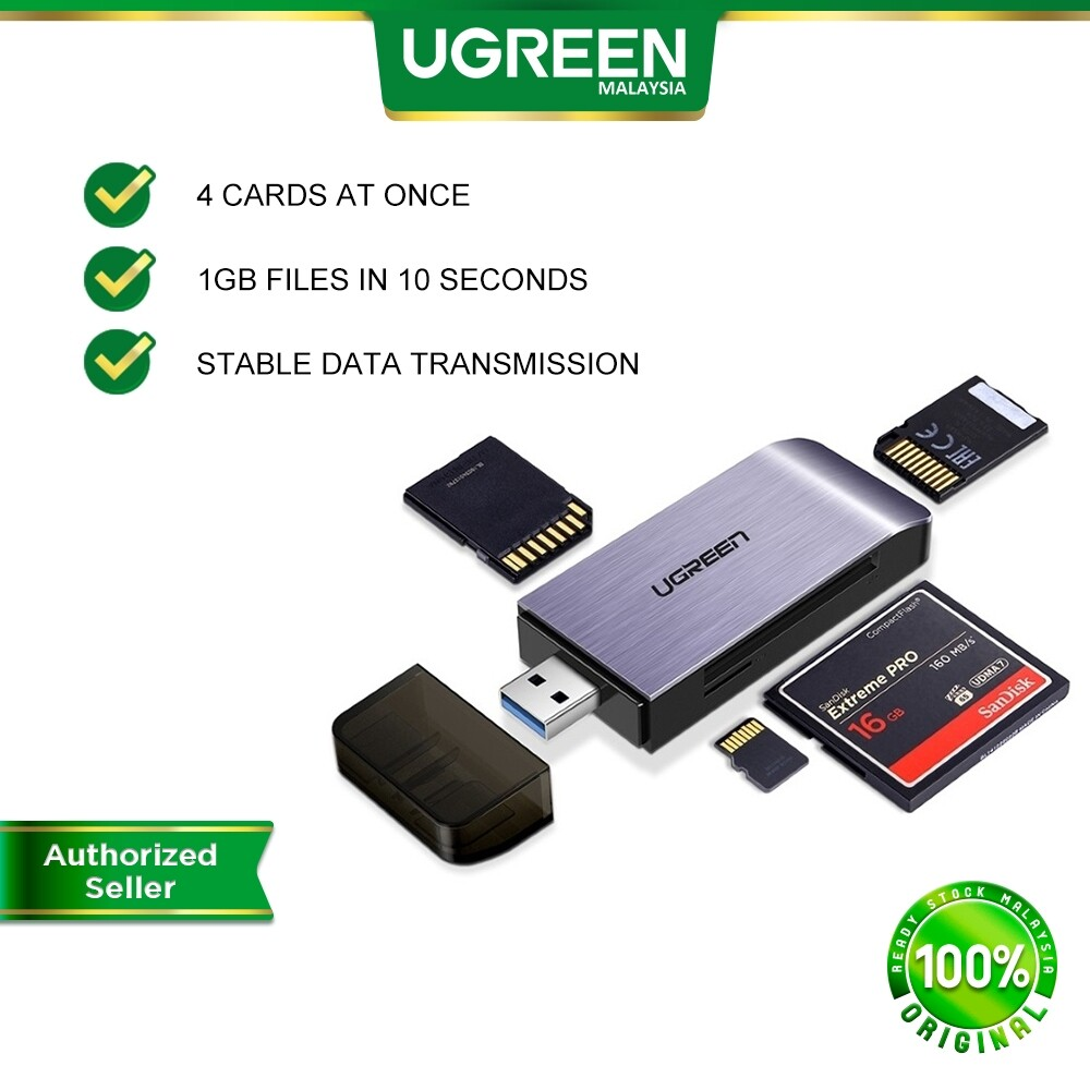 UGREEN SD Card Reader USB 3.0 High Speed CF Memory Card Adapter for UHS-I SDXC SDHC Micro SD Micro SDXC Micro SDHC Memory Stick MMC for Windows Mac OS Linux Read 4 Cards at Once
