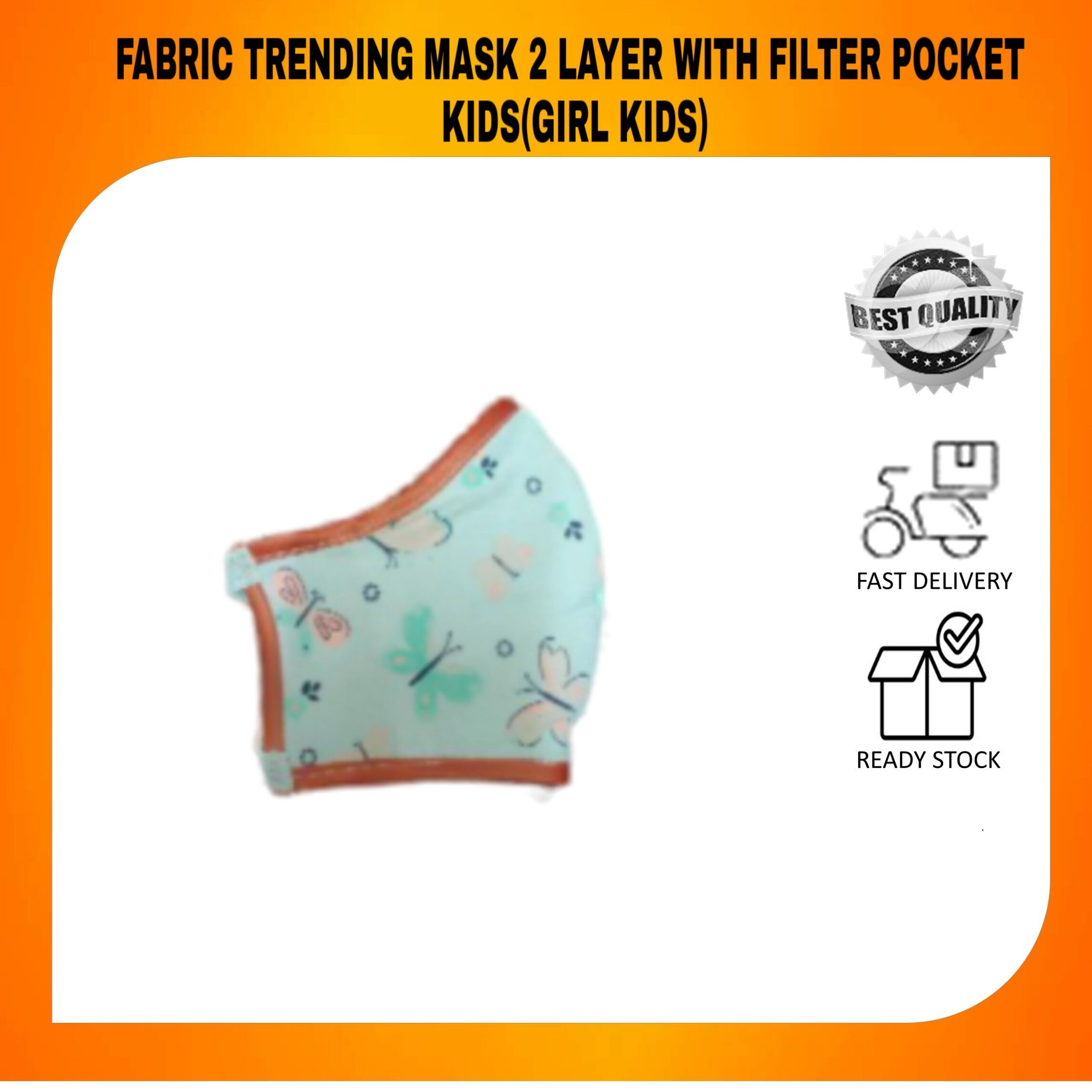 HOT FABRIC TRENDING MASK 2 LAYER WITH FILTER POCKET FOR KIDS Girls