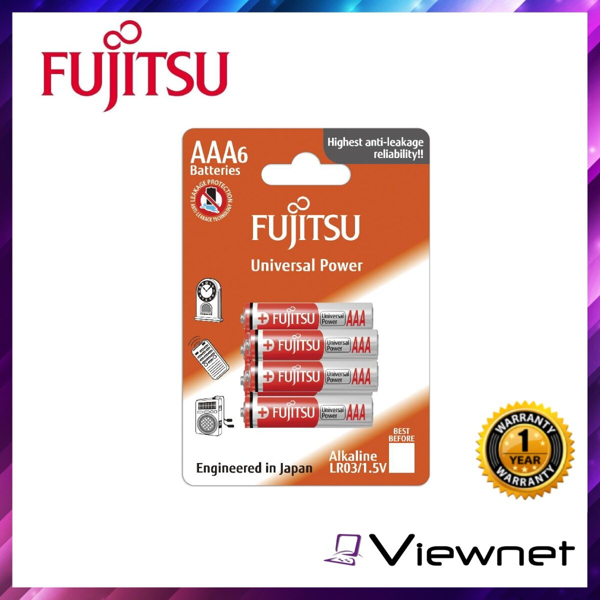 Fujitsu Alkaline Battery Universal Power AA 6PCS (LR6(6B)FU-W-FI), Anti Corrosion, Rechargeable