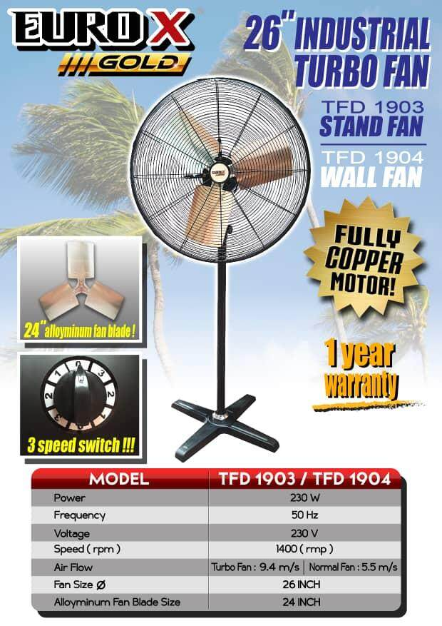 stand fan 1 year warranty 1400 rpm long high low clean electric drive 3 ceiling go wall air flow cooler cold cool turbo 26  industrial base roll roller rolling fast faster speed control adjust swing power supply blade plate wind blower motor