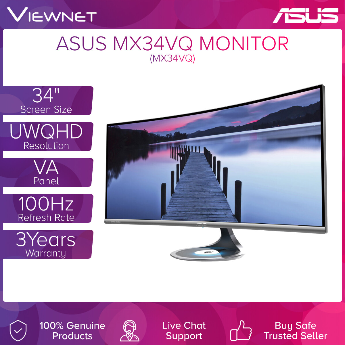 ASUS Designo Curve MX34VQ Ultra-wide Curved Monitor - 34 inch, UWQHD, 1800R Curvature, 100Hz, Frameless, Qi Wireless Charger, Audio by Harman Kardon, Flicker Free, Blue Light Filter