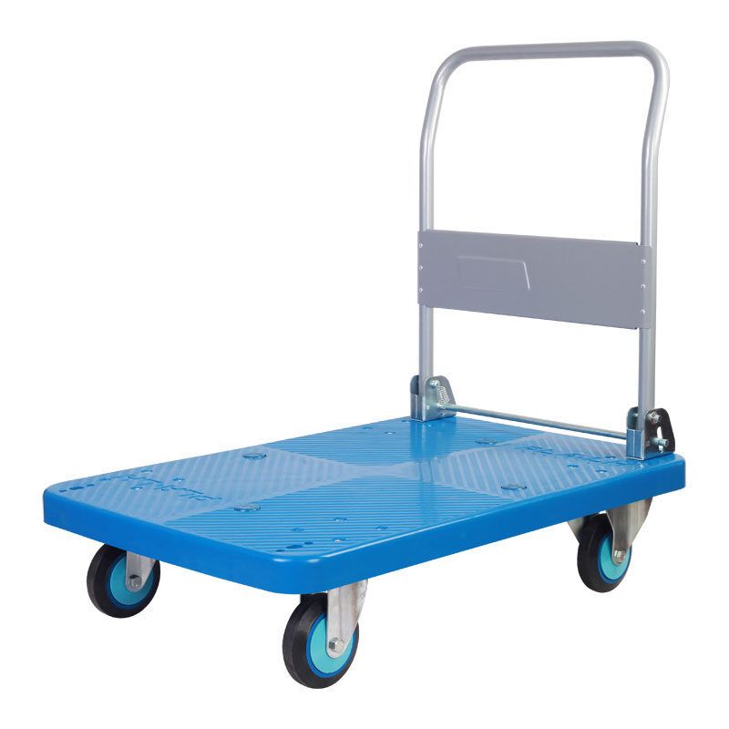 150KG / 300KG PVC Platform Hand Truck / Trolley With Low Noise PU Caster Plastic Platfoam Handle Truck
