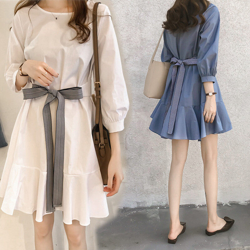 (PRE ORDER) LARGE SIZE WOMEN DRESS WITH RIBBON BELT
