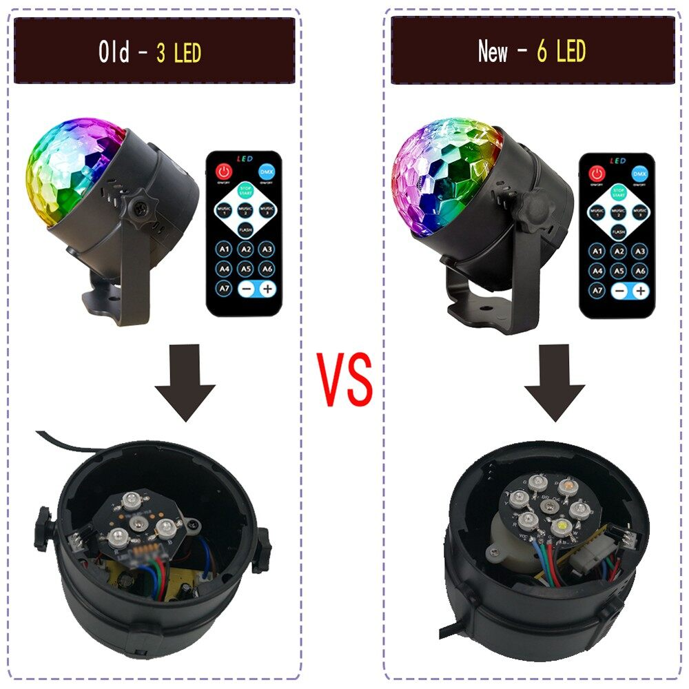 Lighting - 6 Colors LED Party Light Sound Activated Lamp MINI Magic Disco Ball Projecting - Home & Living