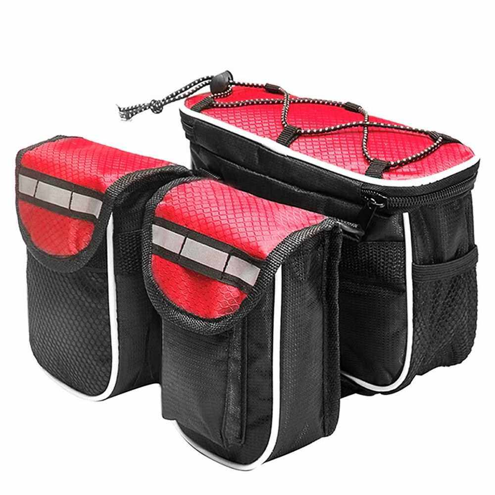 Lixada Cycling Bike Top Tube Bag with Rain Cover Waterproof Mountain Bicycle Front Frame Pannier Bag Pack (Red)