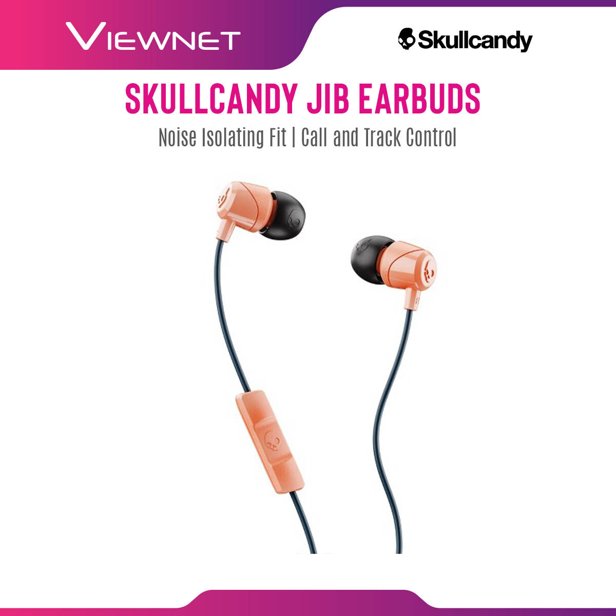 Skullcandy Jib Earbuds with Microphone, Noise Isolating Fit, Call and Track Control, In-Ear (SK-S2DUYK-441)
