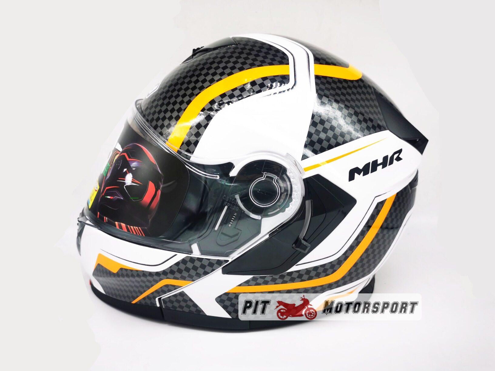 MHR Full Face Flip Up Double Visor Helmet New Design FF329 GT4 GP RACING Orange Protect Protection Helmet Motor Accessories