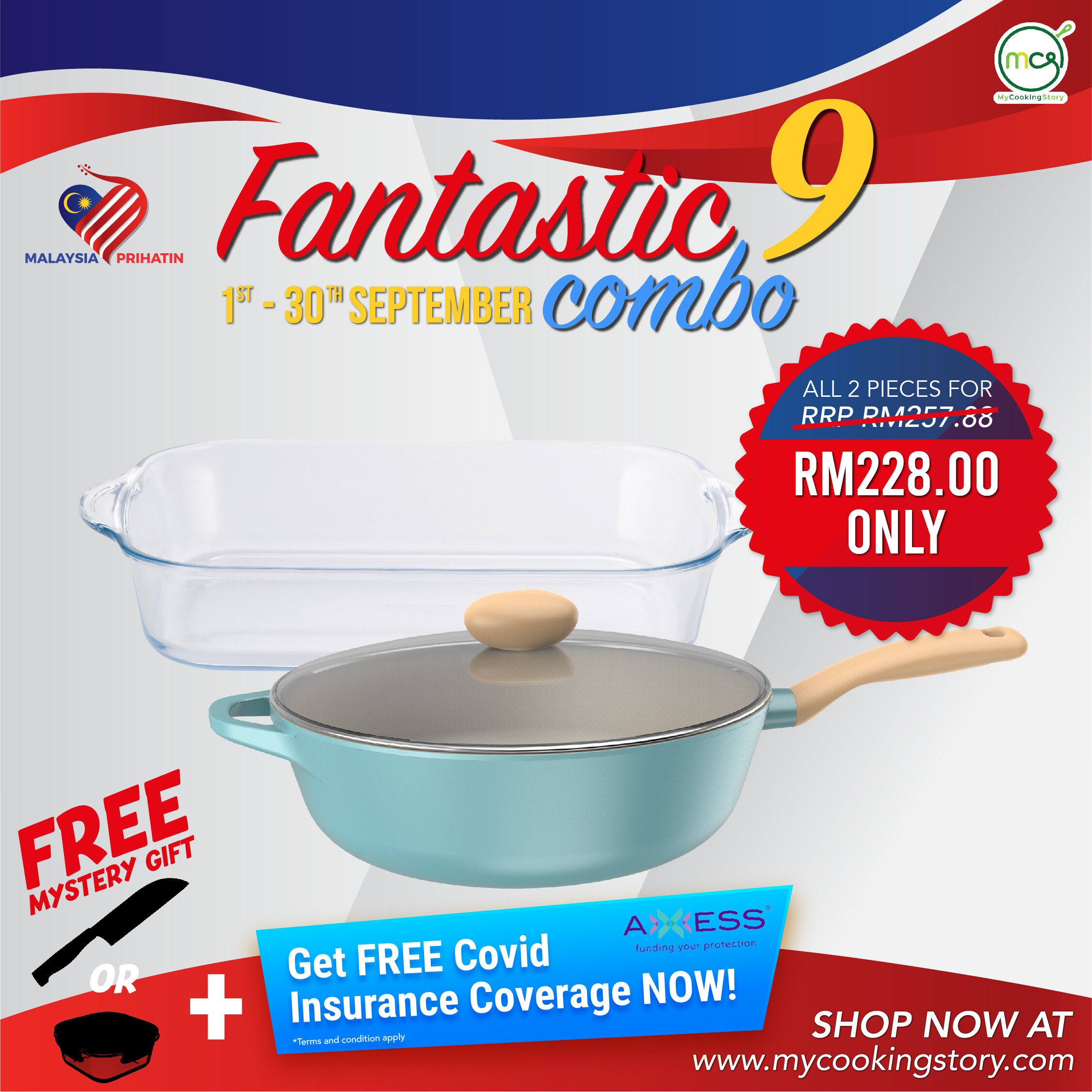 [My Cooking Story / MyCookingStory] September Promotions Combo 9: Neoflam Retro Wok with Lid 30CM + 3.8L Rectangular Ovenware