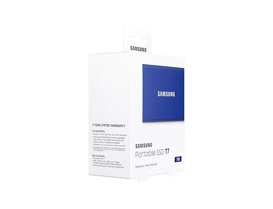 Samsung PORTABLE SSD T7, Super Fast External Storage, available capacity 500GB(MU-PC500H/WW), 1TB(MU-PC1T0H/WW), 2TB(MU-PC2T0H /WW)