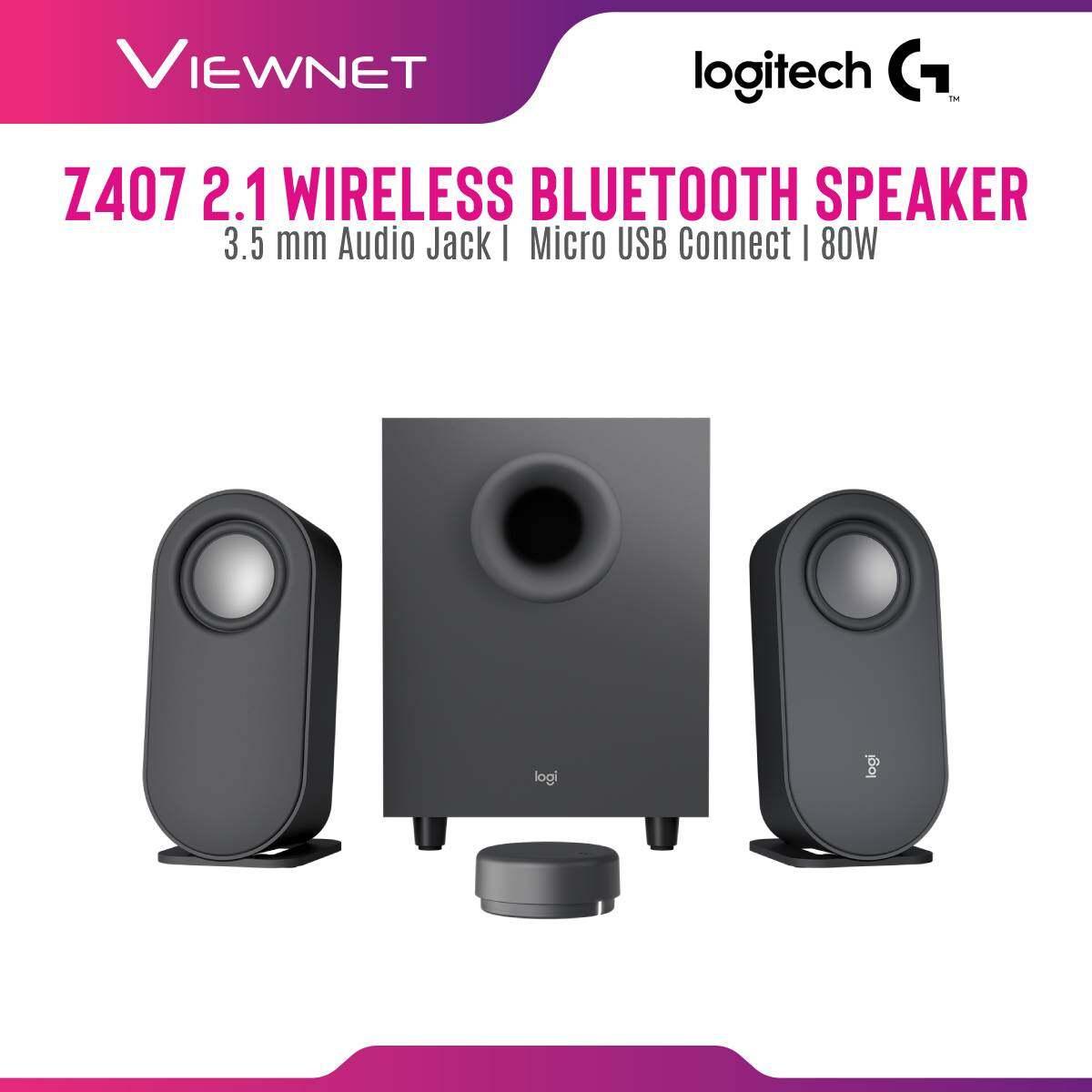 Logitech Z407 2.1 Wireless Bluetooth Speaker with 3.5 mm Audio Jack, Micro USB Connect, 80W