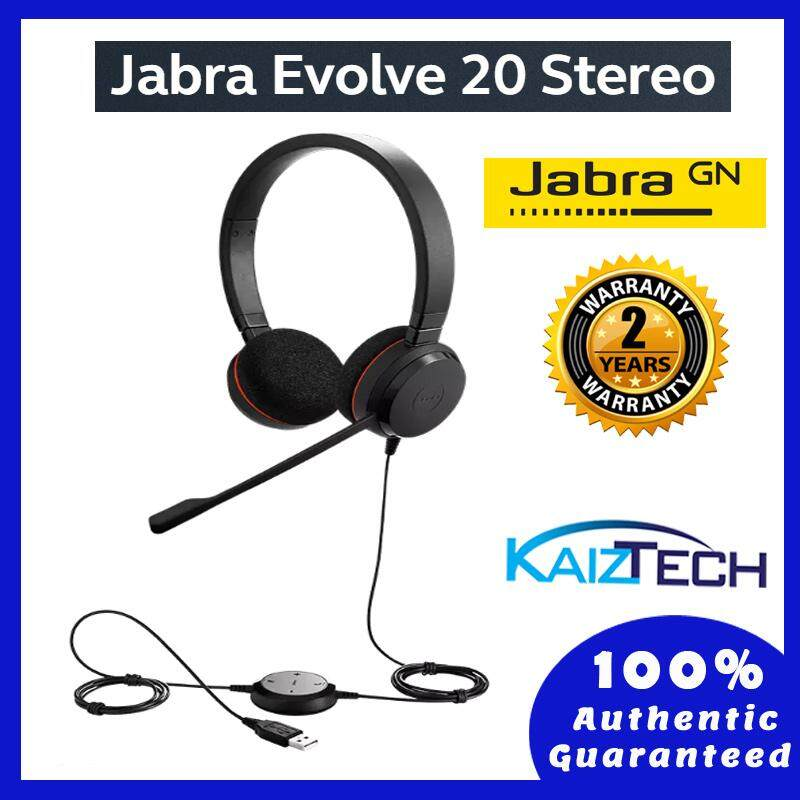 Jabra Evolve 20 MS Stereo Professional Wired Headset for Calls and Music with Passive Noise Cancellation