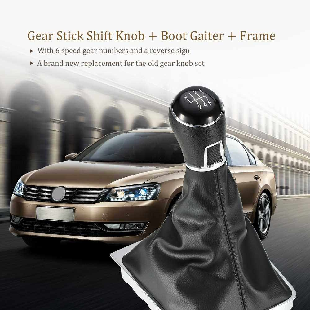 6 Speed Gear Shift Knob Leather Boot for VW Passat B7 (2)