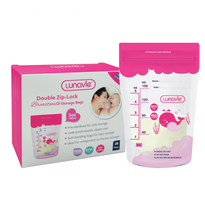 LUNAVIE DOUBLE ZIP-LOCK BREAST MILK STORAGE BAG 5OZ (28PCS) (L1062)