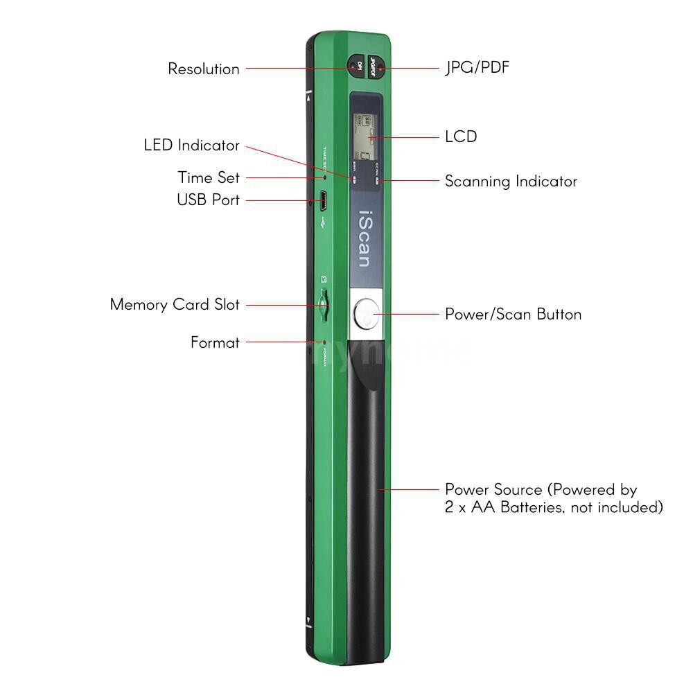 Printers & Projectors - PORTABLE Handheld Wand WIRELESS Scanner A4 Size 900DPI JPG/PDF Formate LCD Display with Protecting - GREEN / BLUE / RED / SILVER / BLACK