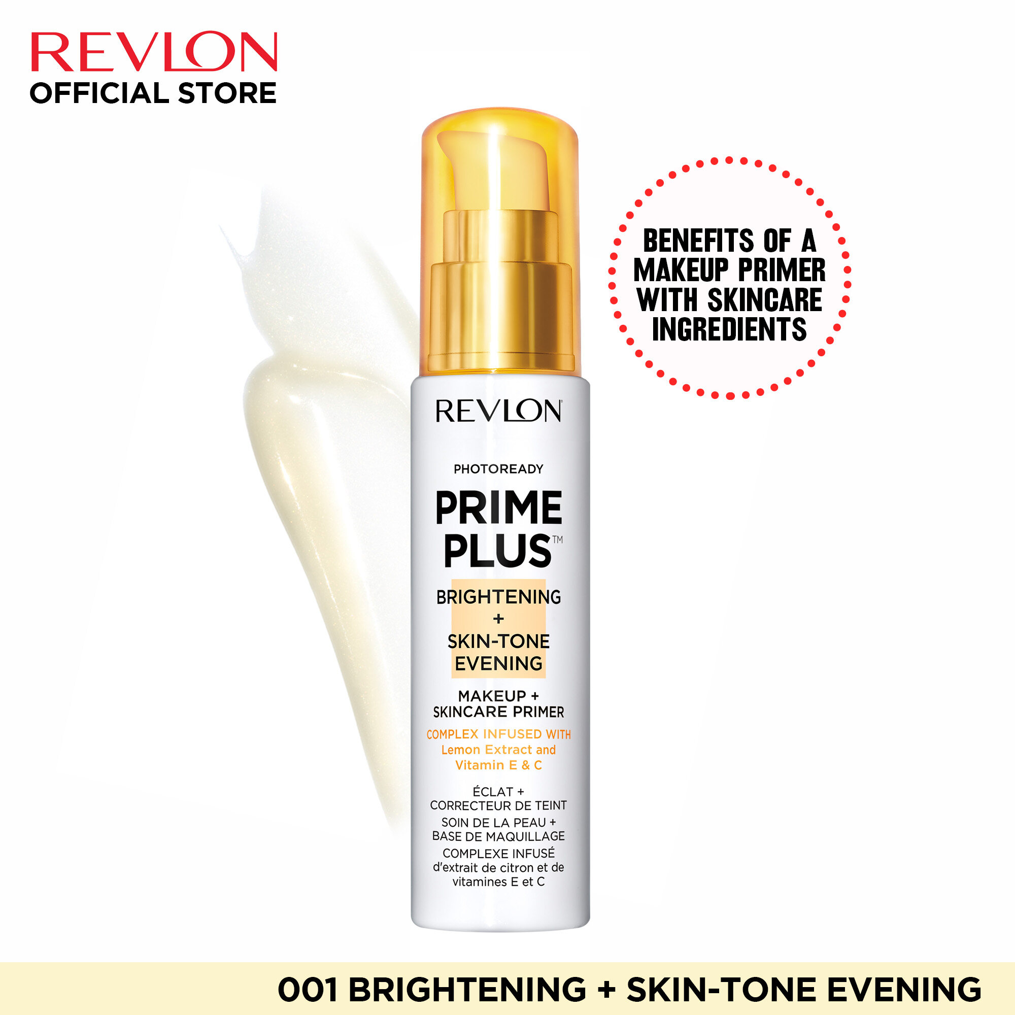 Revlon PhotoReady Prime Plus Makeup and SkinCare Primers – 001 Brightening and Skin Tone Evening
