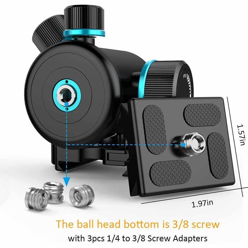 "Andoer TB81X Tripod Ball Head 360 Degree Rotating Panoramic Ballhead for Tripod Monopod Slider DSLR Camera with 3Pcs 1/4"" to 3/8"" Srew Adapter and 2pcs Plate Max Load 8Kg/17.64Lbs (Black)"