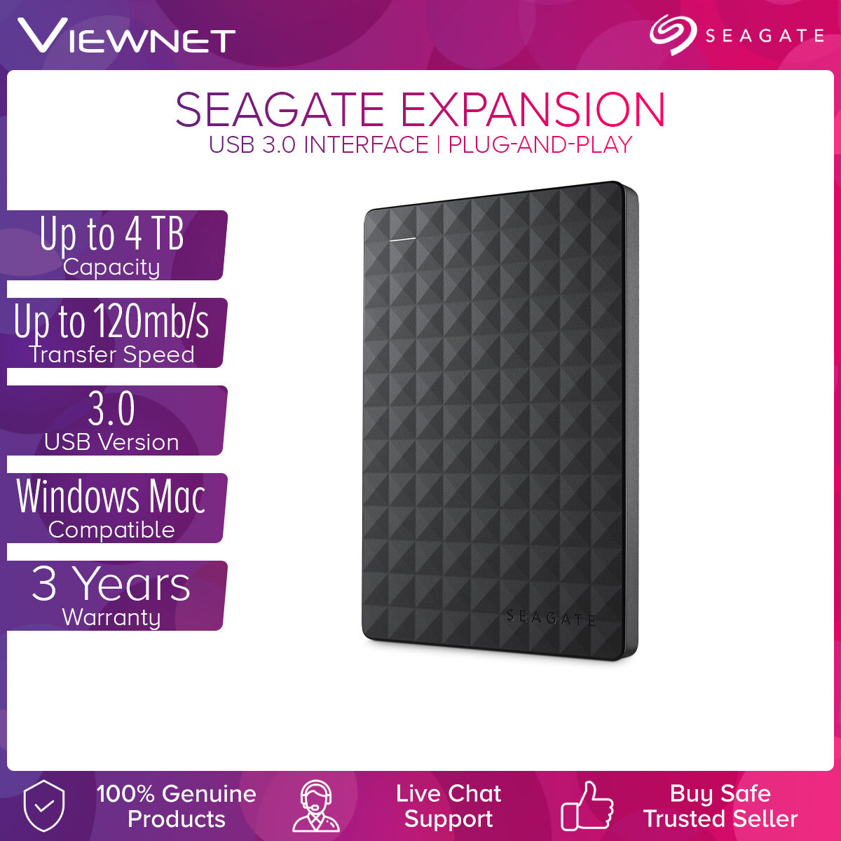 Seagate Expansion 1TB / 1.5TB / 2TB / 4TB USB 3.0 Portable External Hard Drive with Drag-and-Drop File Saving Windows Compatibility External Hard Disk