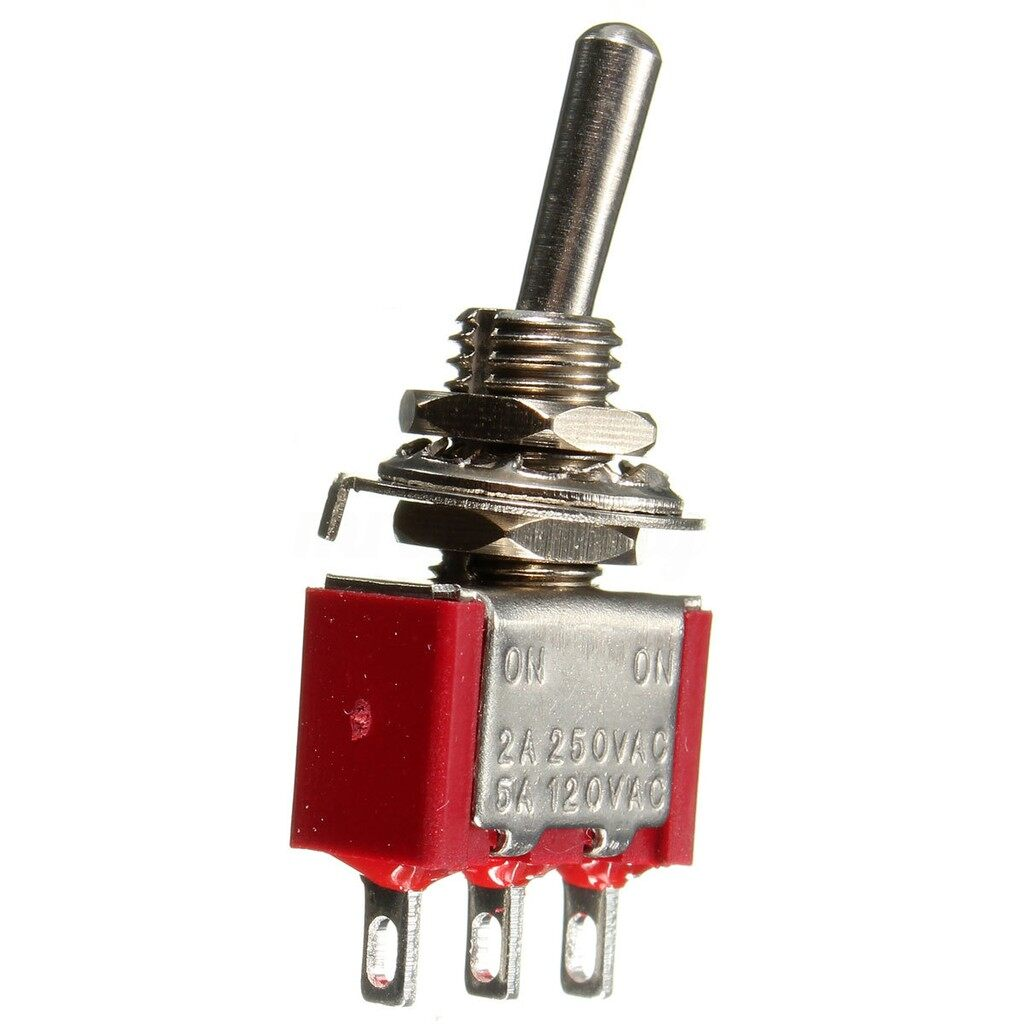 Red 3 Pin ON-ON 3 Position SPDT MINI Toggle Switch - Automotive