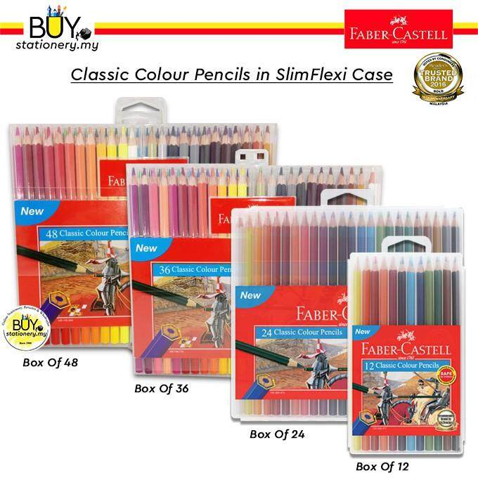 Faber Castell Classic Colour Pencil In Slim Flexi Case 12s/24s/36s/48s - (BOX)
