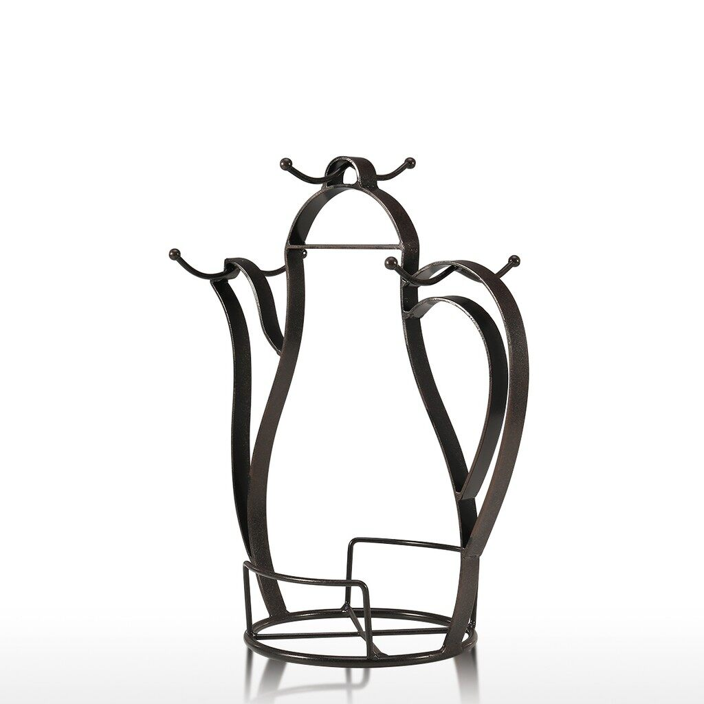 Home Decor - Kettle-shaped Coffee Mug Tree Holder Countertop Or Pantry Vintage Metal - Living